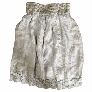 Anthropologie Nicole Silk Floral Embroidery Skirt